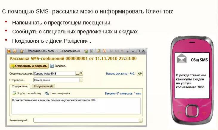 Рассылка SMS-сообщений от салонов красоты